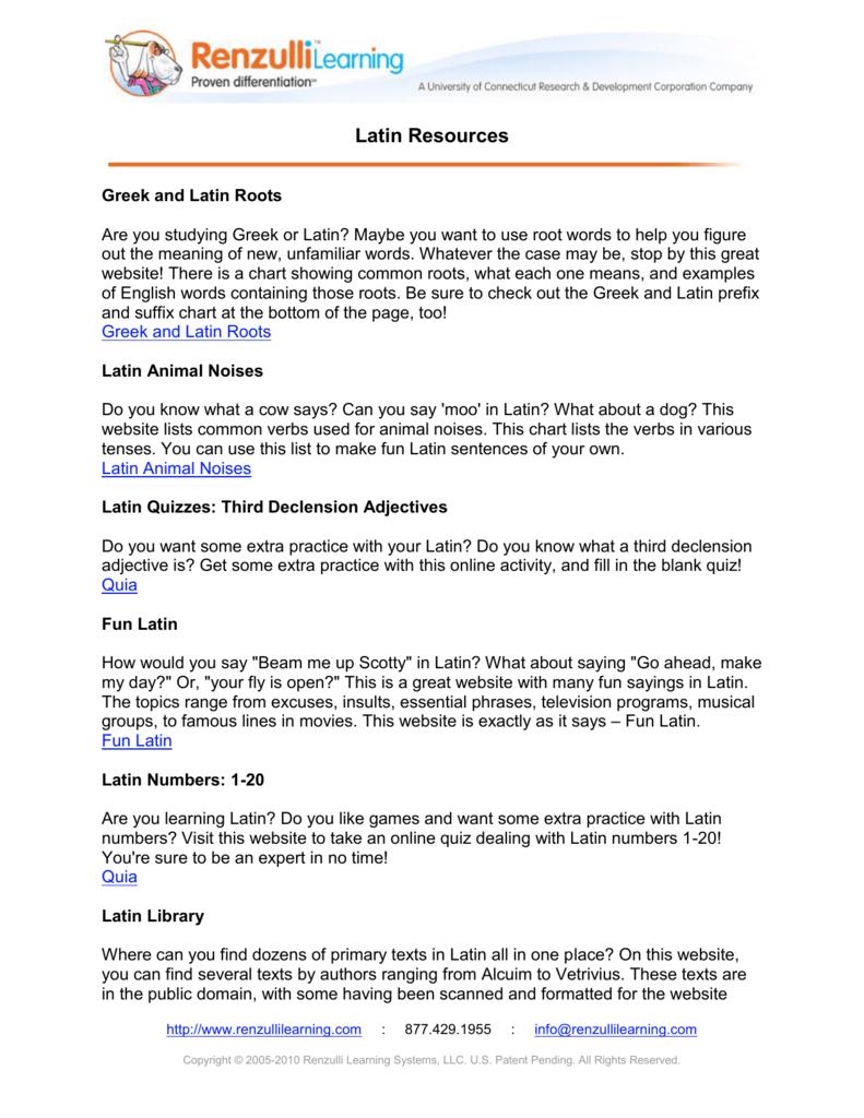 Latin Resources Renzullilearning