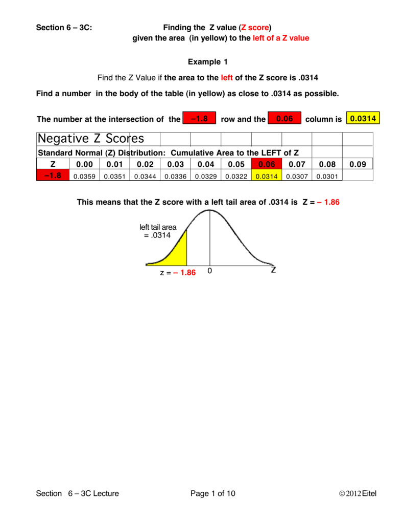 Z score given an area in either tail