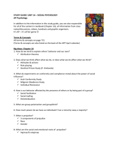 STUDY GUIDE: UNIT 14 – SOCIAL PSYCHOLOGY AP Psychology