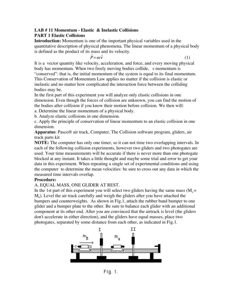 Lab 11 Momentum Elastic Inelastic Collisions Part 1 Elastic