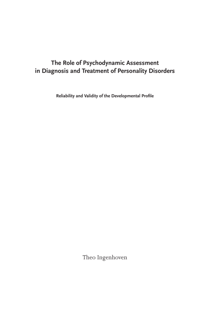 The Role of Psychodynamic Assessment in Diagnosis and