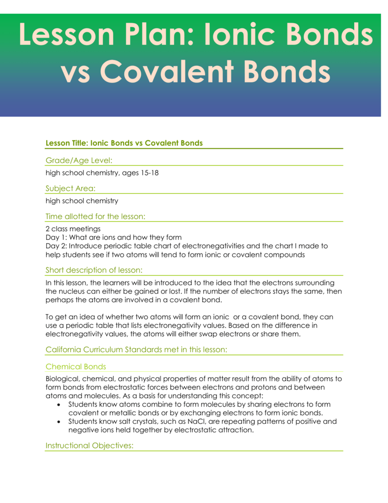 Lesson plan ionic bonds vs covalent bonds urtaz