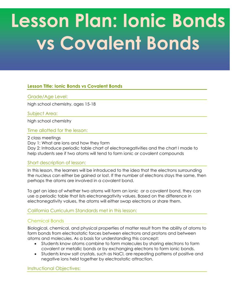 Lesson plan ionic bonds vs covalent bonds urtaz Choice Image