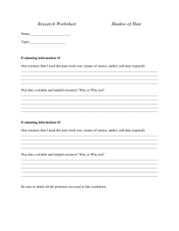 Research Worksheet Shadow of Hate