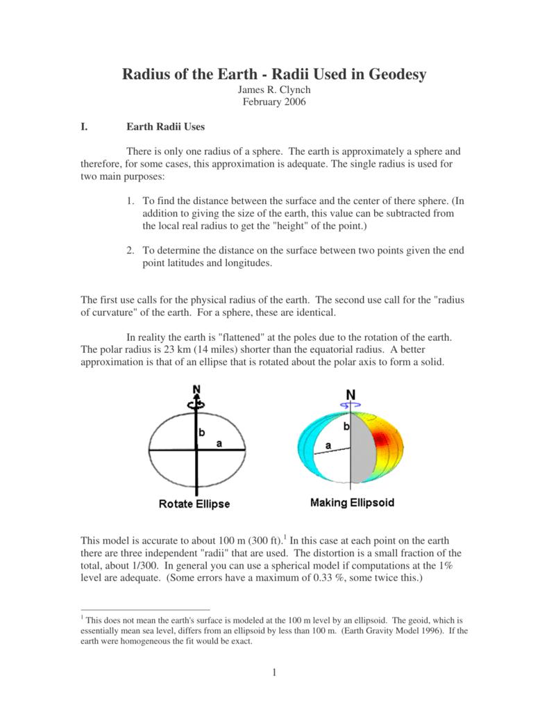 Radius of the Earth - Radii Used in Geodesy