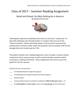 Nickel and Dimed Book Report