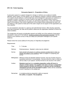 SPC 120 - Public Speaking Persuasive Speech 2 – Proposition of