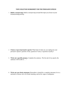 Topic Selection Worksheet for the Persuasive Speech