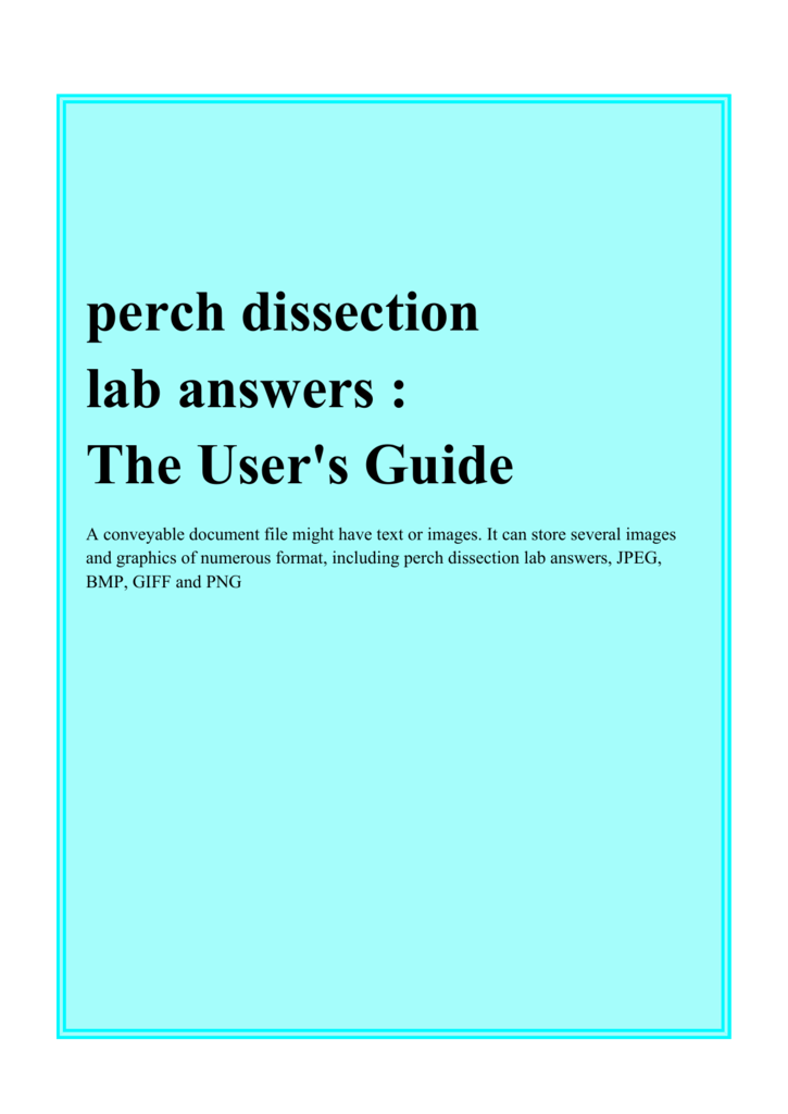 Perch Dissection Lab Answers Fenster