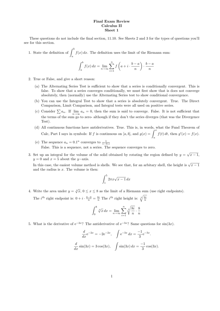 Final Exam Review Calculus II Sheet 1 These questions do not