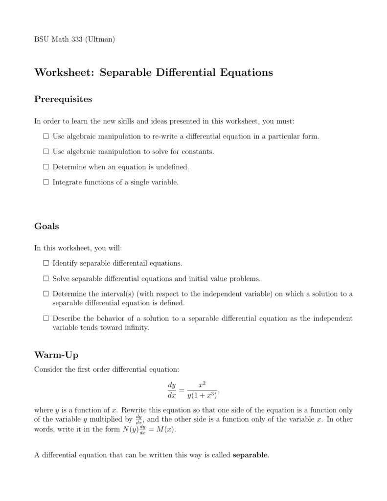 Worksheet: Separable Differential Equations