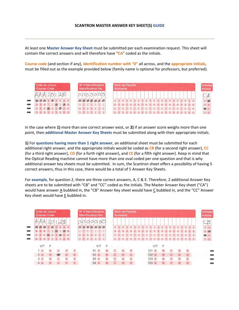 SCANTRON MASTER ANSWER KEY SHEET(S)