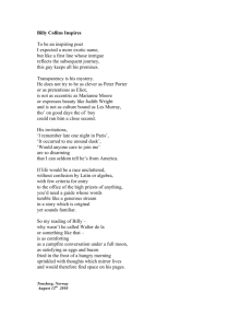 Billy Collins Inspires - Sydney Peace Foundation