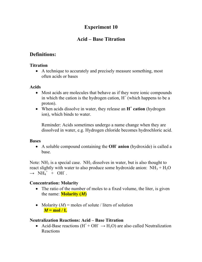 Worksheets Acid Base Titration Worksheet experiment 10 acid base titration definitions