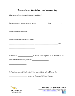 Transcription Worksheet and Answer Key