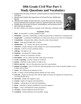 10th Grade Civil War Part 1 - Study Questions and Vocabulary