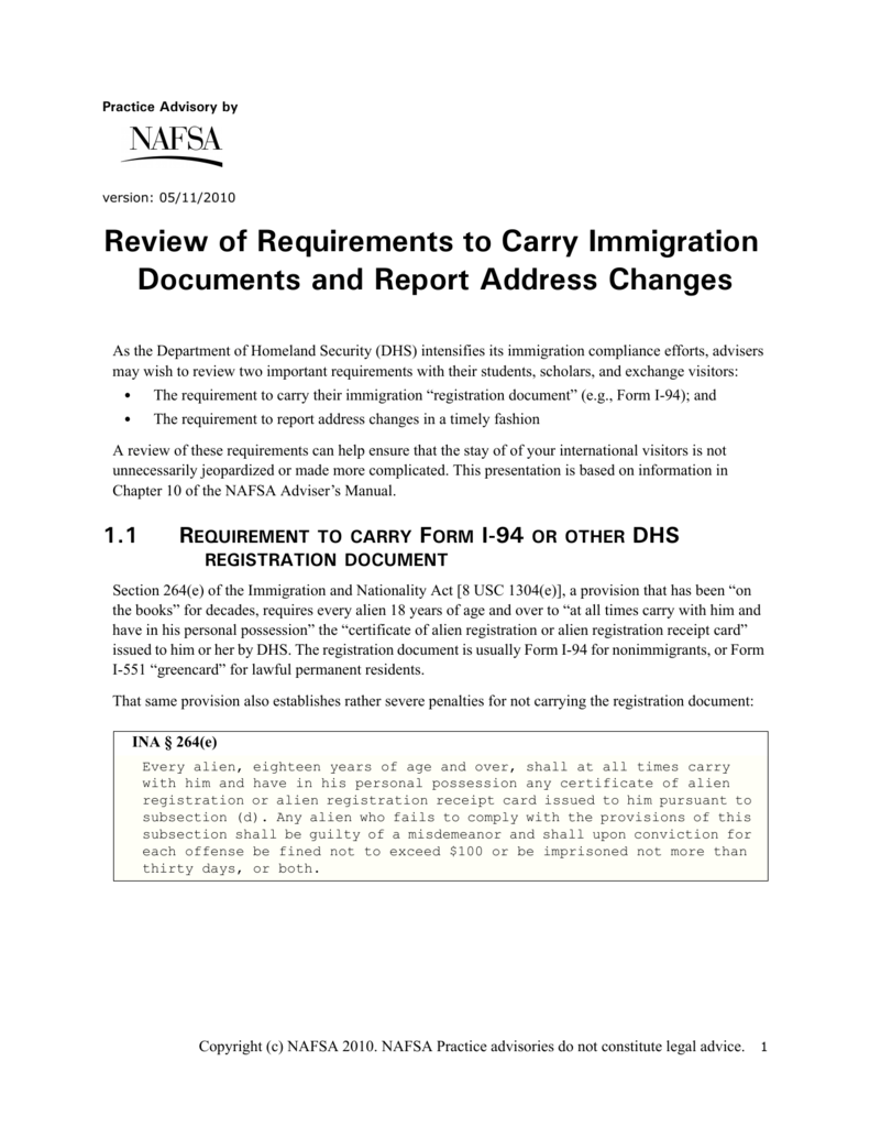 Review of requirements to carry immigration documents falaconquin