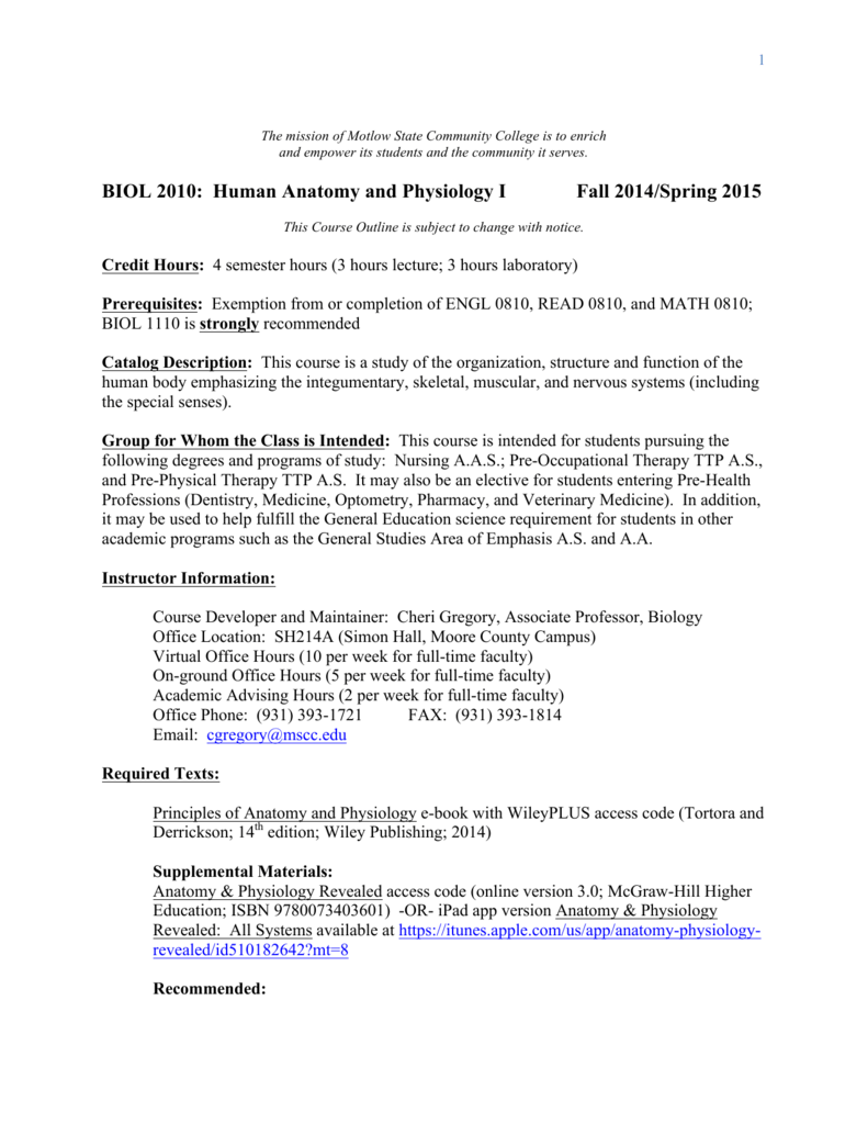 BIOL 2010: Human Anatomy and Physiology I Fall 2014/Spring 2015
