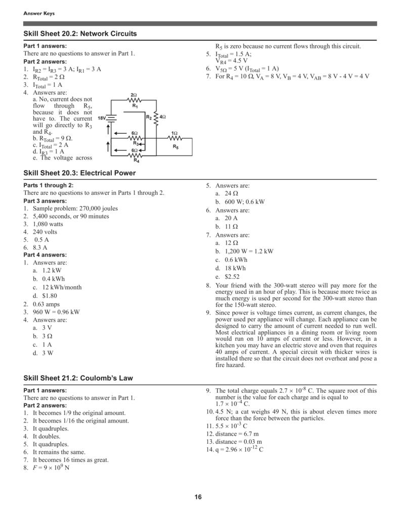 Skill Sheet 20 2: Network Circuits Skill Sheet 20 3