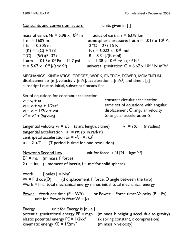 Constants and conversion factors units given in [ ] mass of