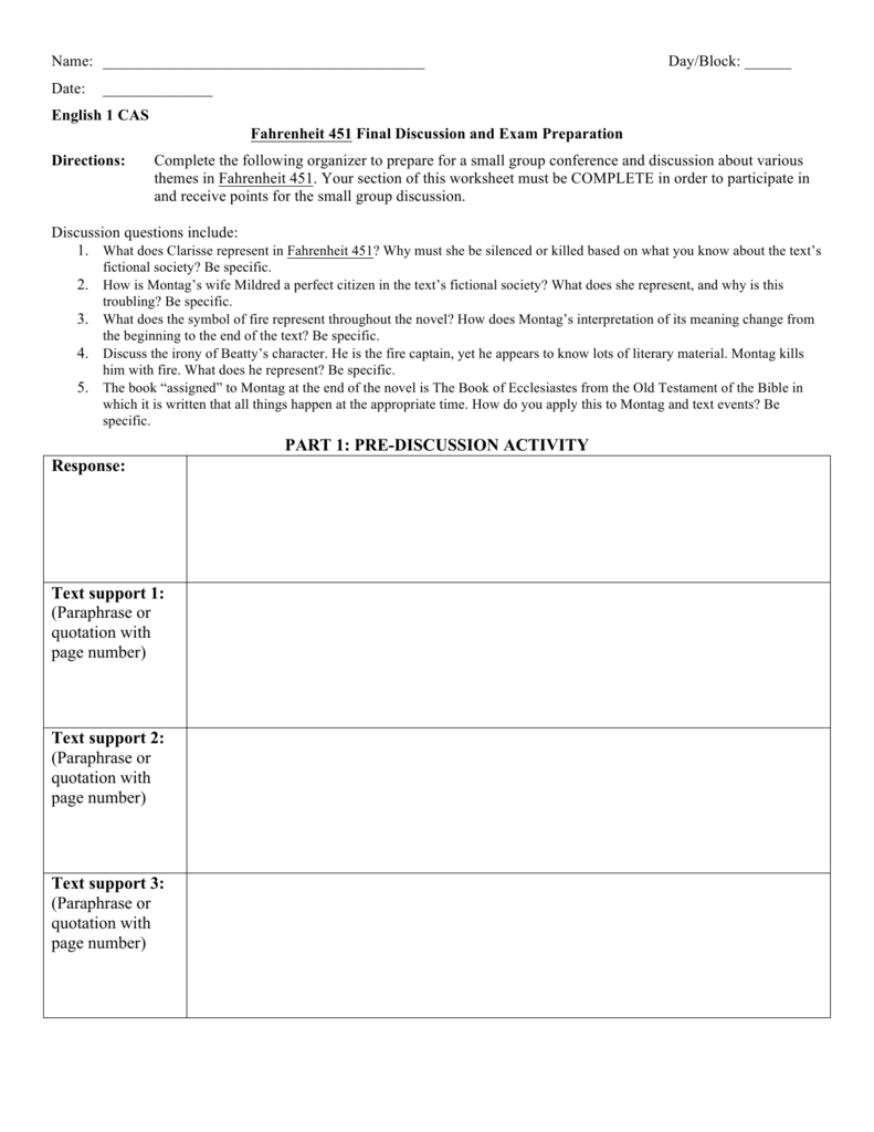 Worksheets Fahrenheit 451 Worksheets fahrenheit 451 final discussion worksheet