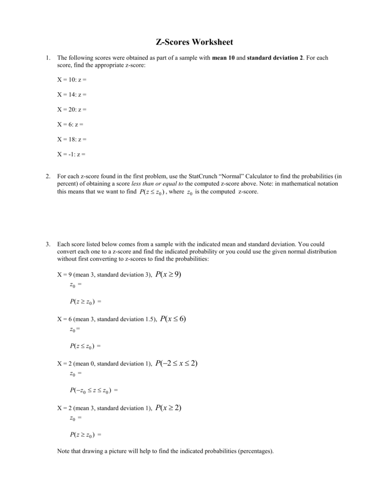worksheet Z-score Worksheet z scores worksheet