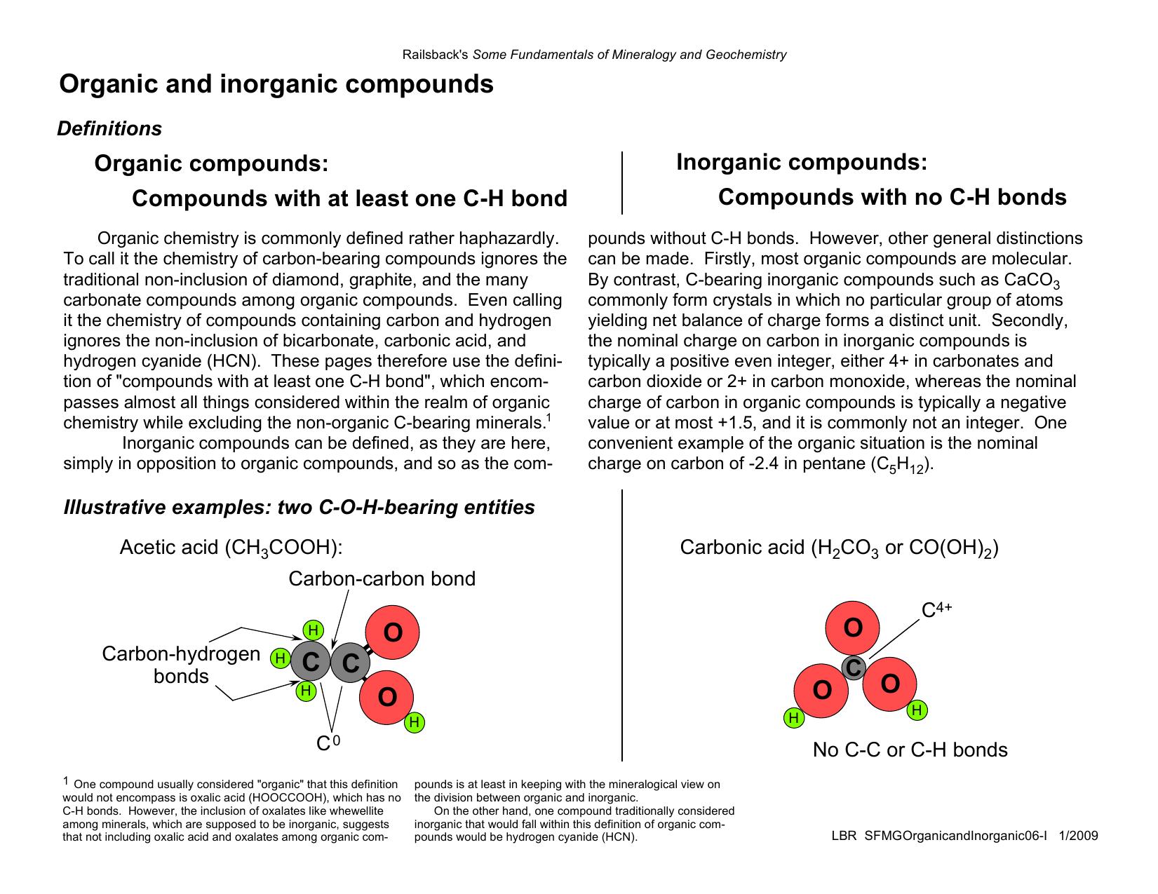 Organic And Inorganic Compounds O O O C C O O