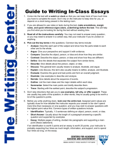 Guide to Writing In-Class Essays