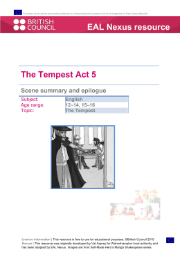 an analysis of acts i and ii of the tempest A story of shipwreck and magic, the tempest begins on a ship caught in a violent storm with alonso, the king of naples, on board on a nearby island, the exiled duke of milan, prospero, tells his daughter, miranda, that he has.