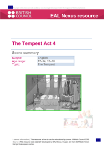 The Tempest Act 4 EAL Nexus resource