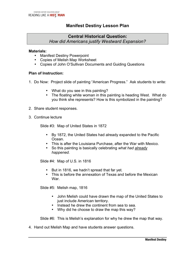 worksheet Manifest Destiny Worksheet manifest destiny lesson plan sheg