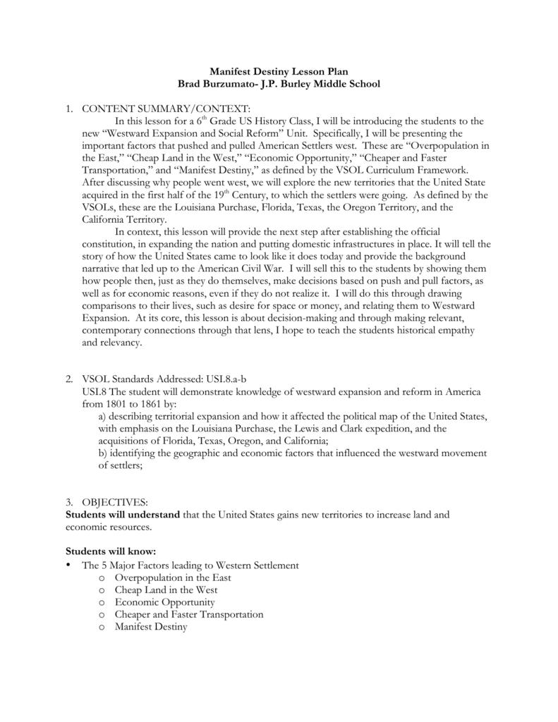 Uncategorized Manifest Destiny Worksheet manifest destiny jigsaw lesson plan