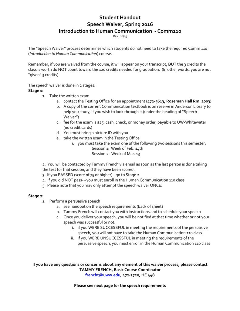 Speech Waiver Student Introduction To Spring Handout 2016