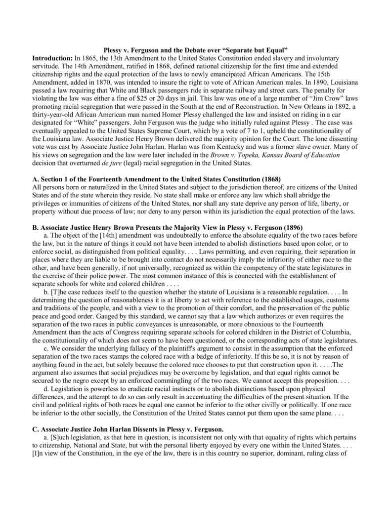 worksheet Plessy V Ferguson Worksheet how did plessy violate this law the best violation of 2018 carpetbaggers v ferguson