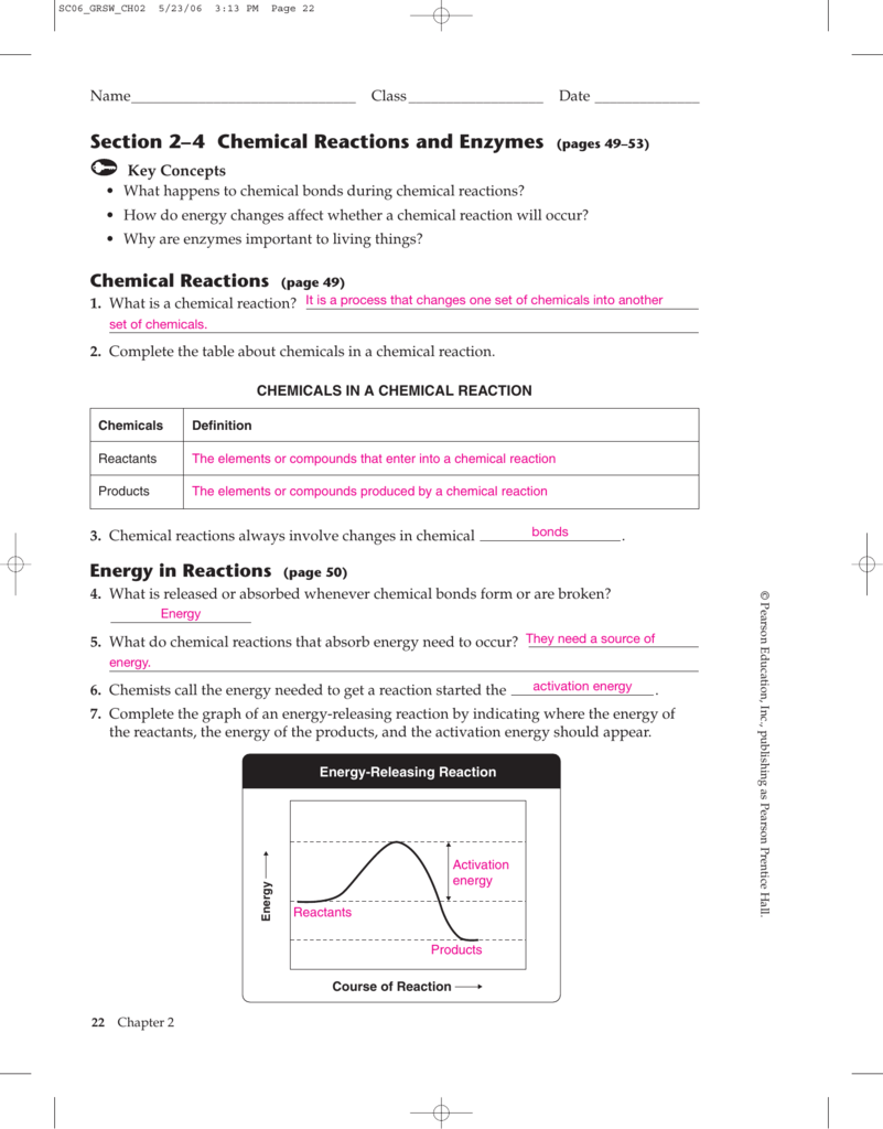 Section 2–4 Chemical Reactions and Enzymes (pages 49–53)
