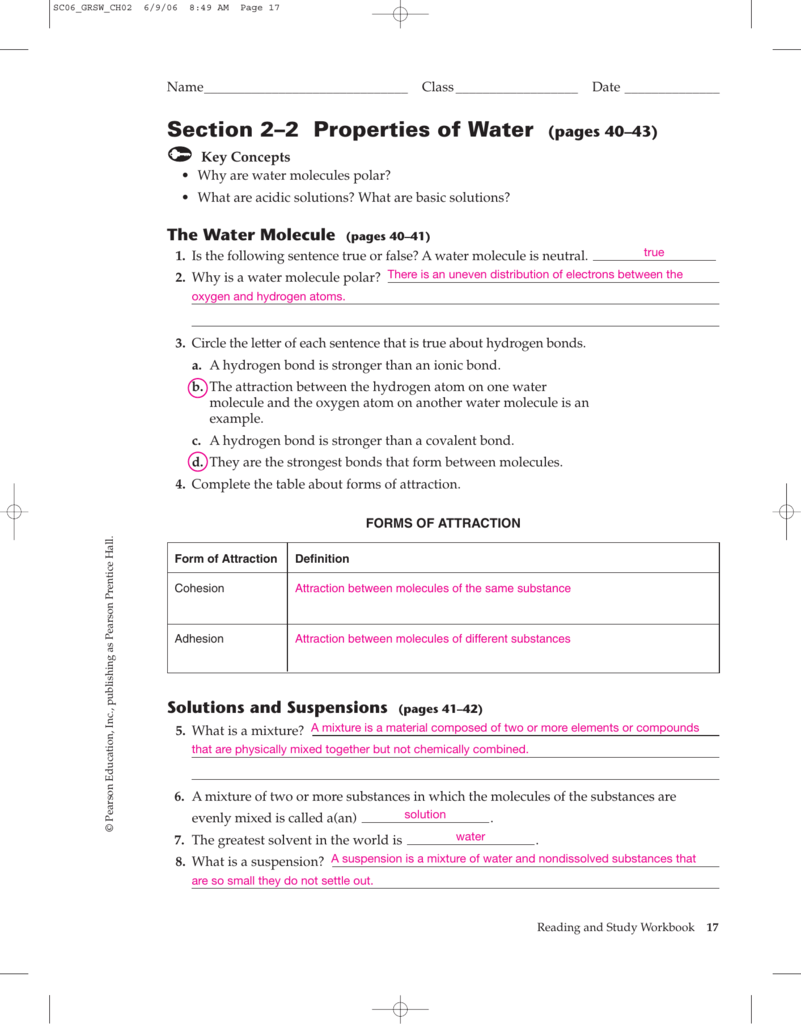 Worksheets Properties Of Water Worksheet section properties of water pages