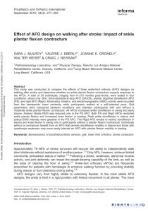 Effect of AFO design on walking after stroke: Impact of ankle plantar