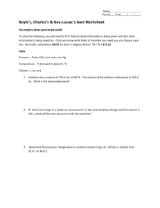 Boyle's, Charles's & Gay-Lussac's laws Worksheet