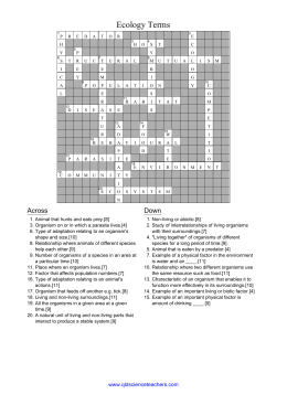 Ecology Crossword Puzzle Worksheets - The Best and Most ...