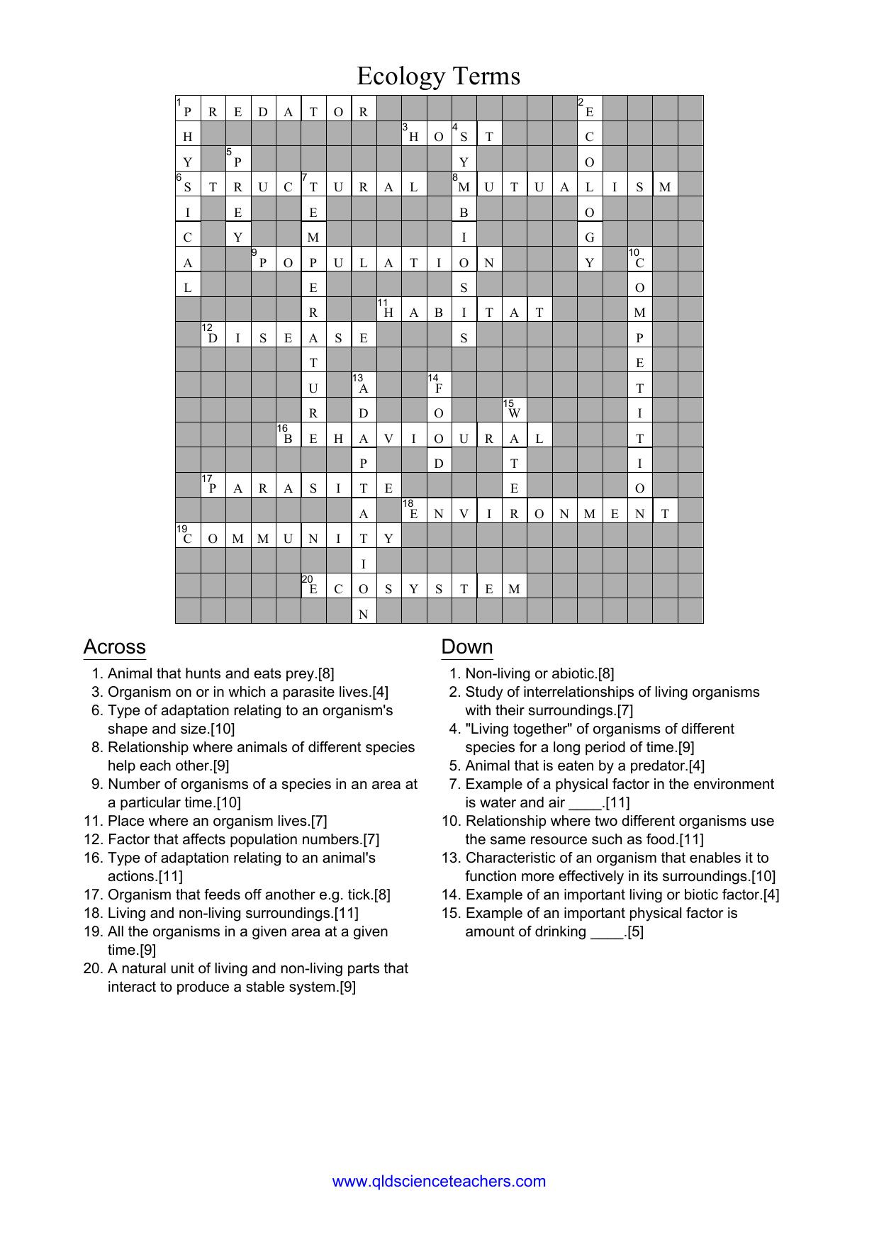 Ecology Crossword Answers - Queensland Science Teachers