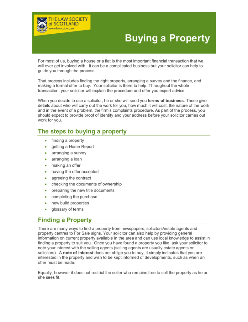 buying a property - law society of scotland