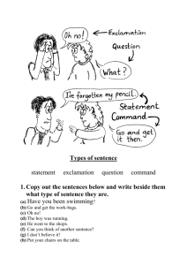 Types of sentence - Primary Resources