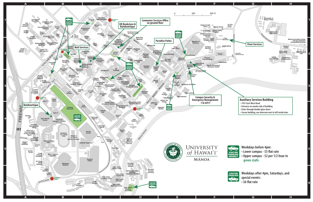 Mid Pacific Institute Campus Map.Uhm Campus Map University Of Hawaii At Manoa
