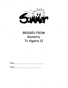 2015 Summer Bridge - Geometry to Algebra II