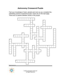 Astronomy Crossword Puzzle - Word-Game