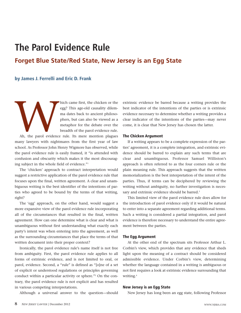 The Parol Evidence Rule