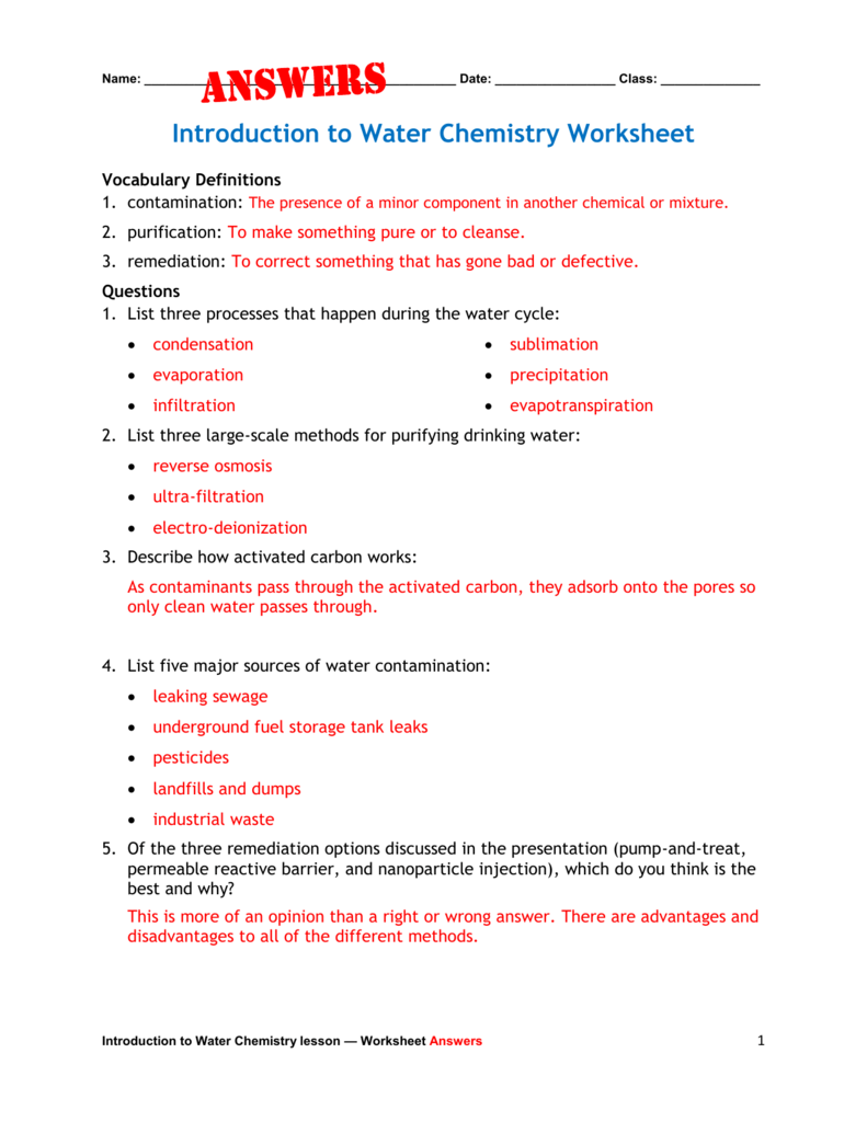 worksheet Introduction To Chemistry Worksheet introduction to water chemistry worksheet answers