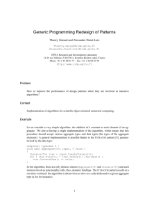 Generic Programming Redesign of Patterns - LRDE