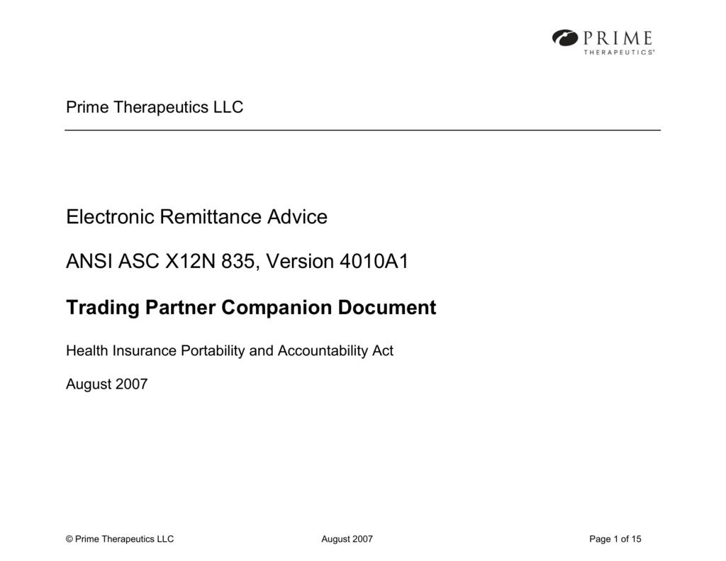 Electronic Remittance Advice ANSI ASC X12N 835, Version 4010A1