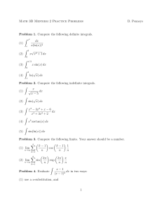 Practice Problems for Midterm 2